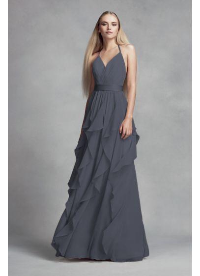 Long Grey Soft & Flowy White by Vera Wang Bridesmaid Dress