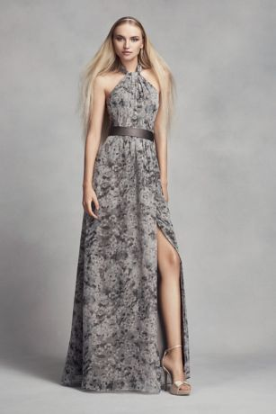 Floral Halter Bridesmaid Dress with Slit Skirt | David\'s Bridal