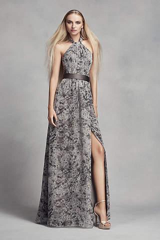 Vestido Para Dama Halter de Estampado Floral Con Abertura en la Falda