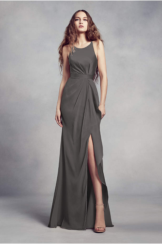 Charmeuse and Chiffon Bridesmaid Dress with Ruffle - Charmeuse and chiffon come together on this White