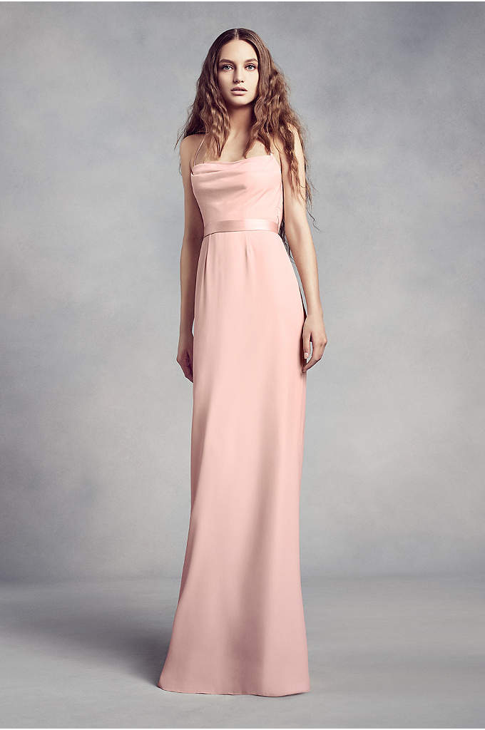 Cowl-Back Crepe Bridesmaid Dress with Illusion - Sleek and sophisticated, this crepe sheath bridesmaid dress