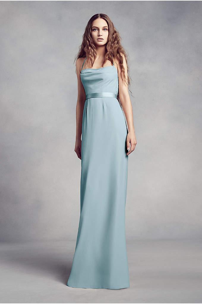 Cowl-Back Crepe Bridesmaid Dress with Illusion - Sleek and sophisticated, this crepe sheath bridesmaid dress