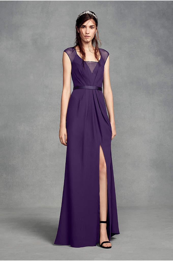 Short Strapless Crepe Dress with Satin Belt | David\'s Bridal