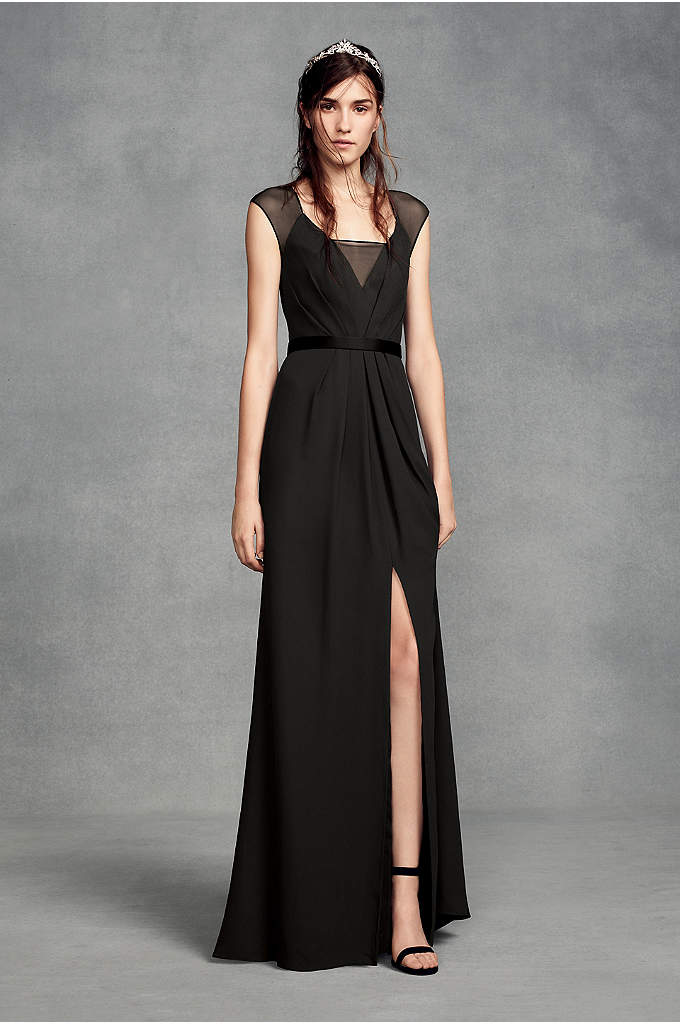 Illusion Cap Sleeve Crepe Bridesmaid Dress - A chic silhouette for modern 'maids, this cap