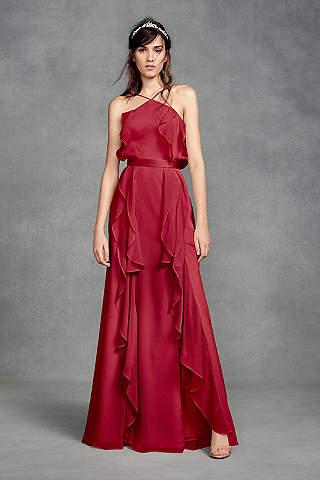 Vestido de Chiffon Con Cuello Alto Para Dama y Amarre en Espalda