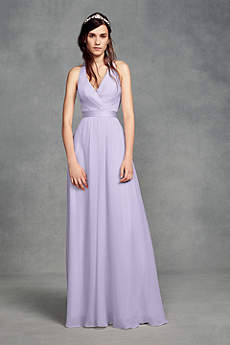 Soft Flowy White By Vera Wang Long Bridesmaid Dress