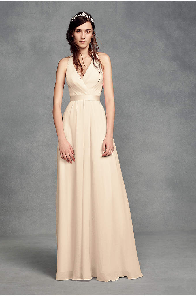 Chiffon Halter Bridesmaid Dress with Tulle Bow - Featuring a plunging V-neckline and a layered chiffon-over-tulle