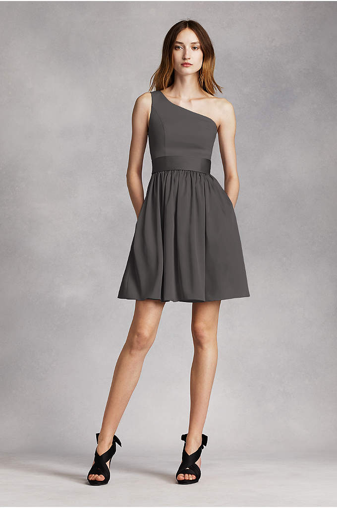 Short One Shoulder Dress with Satin Sash - This short one shoulder dress will dazzle at