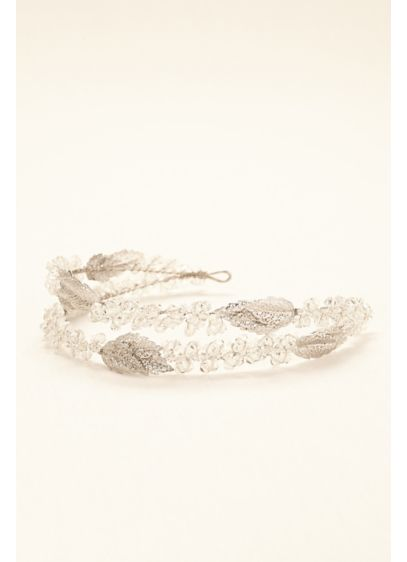 Two Row Crystal Headband with Beaded Leaves - Wedding Accessories