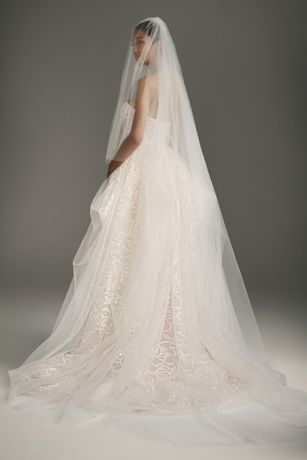 Two-tier Cathedral Length Veil with Raw Edge - Two-tier cathedral length veil with raw cut edge.