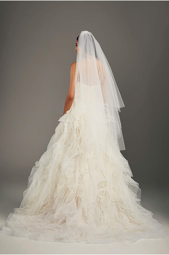 Two-tier Walking Length Veil with Raw Edge - Two-tier walking length veil with raw edge. Choose