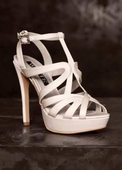 Satin Caged Strappy Platform Sandal VW370125