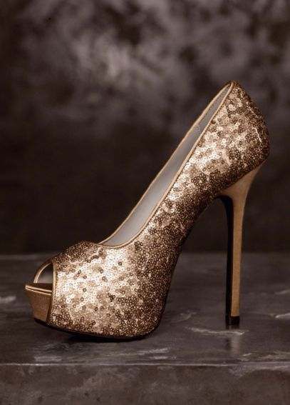 Peep-Toe Platform Pump with Matte Sequins VW370131