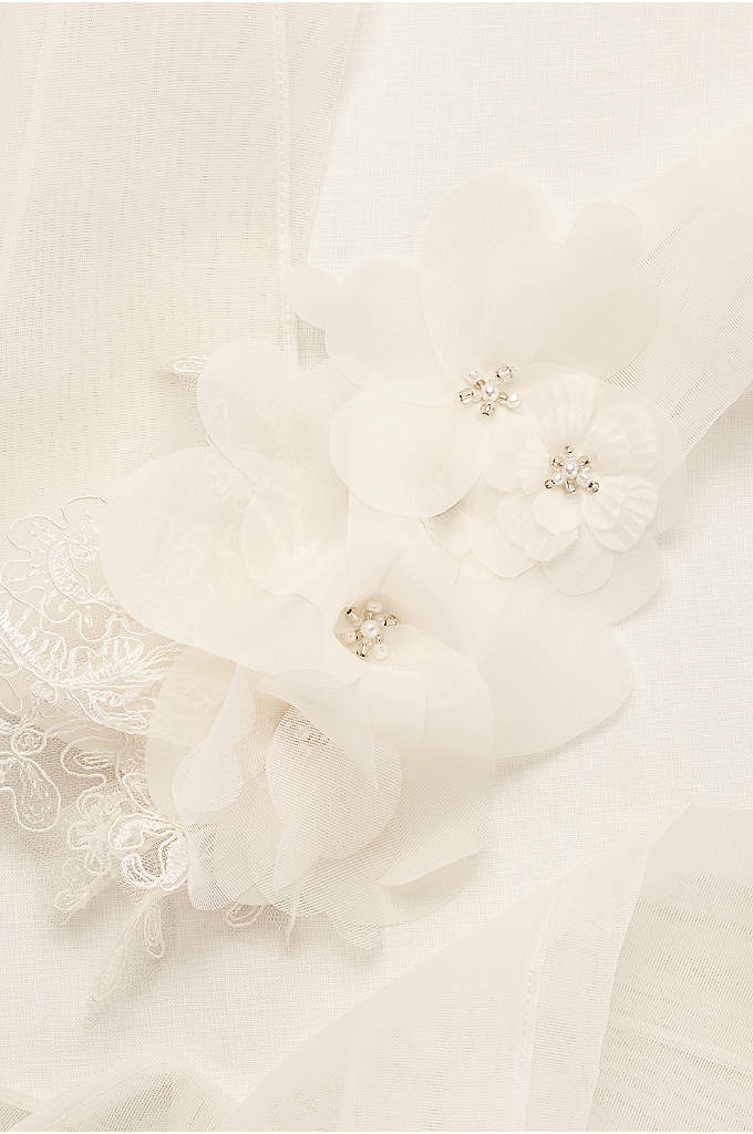 Garza Sash with Lace Appliques - Personalize your bridal look with this White by