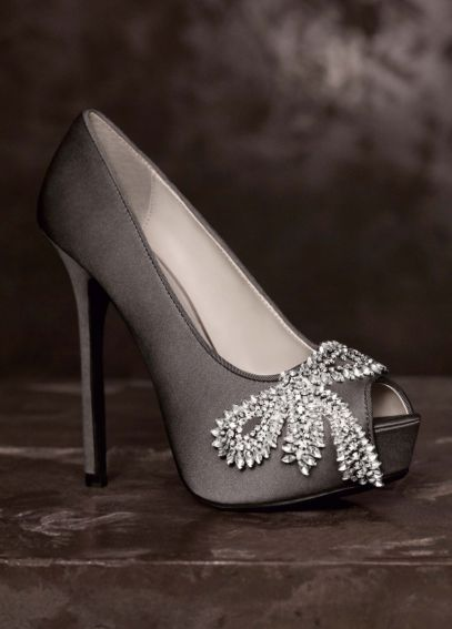 Peep-Toe Platform Pumps with Crystal Bows VW370143