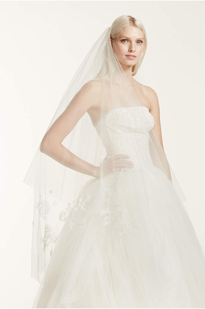Two-Tier Walking Length Veil with Lace Appliques - Beautiful lace and floral detailed White by Vera