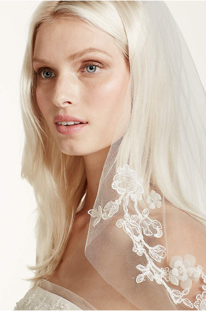 Single-Tier Lace Embellished Cage Veil - White by Vera Wang veil evokes an air
