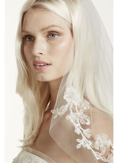 Single-Tier Lace Embellished Cage Veil - Wedding Accessories