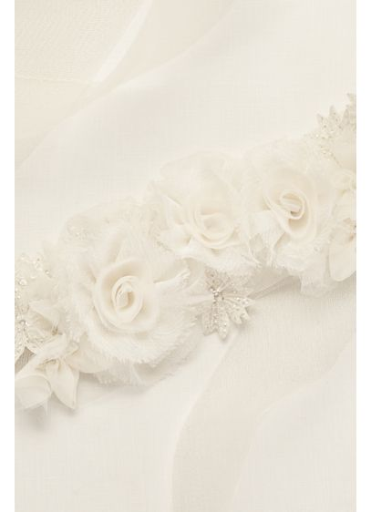Horsehair Sash with Crystals and Organza Flowers - Wedding Accessories