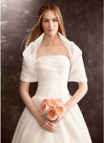 Textured organza draped cover up david 39 s bridal for Cover up wedding dress