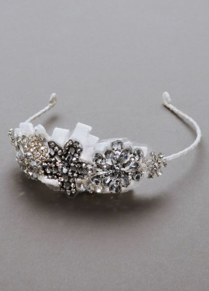 Crystal Flower and Grosgain Ribbon Headband VW371409