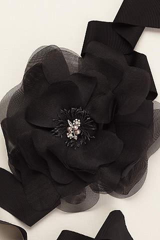 Cinturón con Maxi Flor con Detalles de Cristal y Perlas