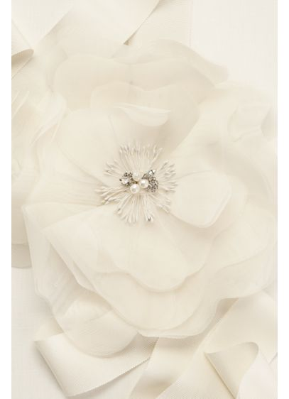 Garza Floral Sash with Pearl and Crystal Detail - Wedding Accessories