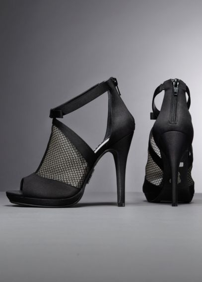 Platform Peep Toe Bootie with Fishnet Overlay VW371455