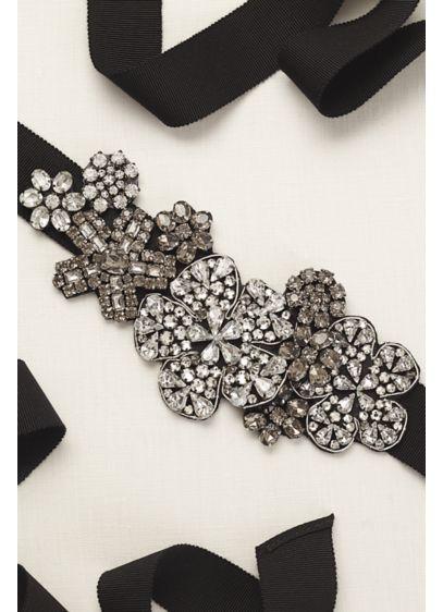 Multi Stone Crystal Embellished Grosgrain Sash - Wedding Accessories
