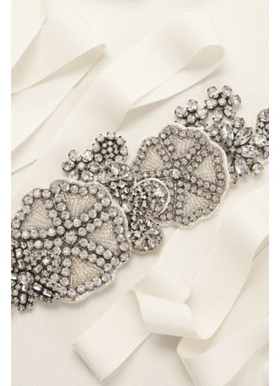 Grosgrain Sash with Crystal and Bead Embellishment - Wedding Accessories
