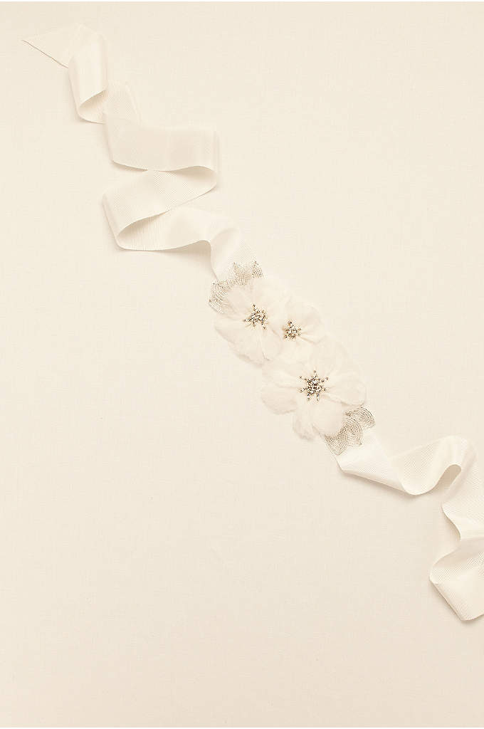 Floral Grosgrain Sash with Beaded Leaves - Add a floral touch to your bridal look