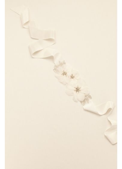 Floral Grosgrain Sash with Beaded Leaves - Wedding Accessories