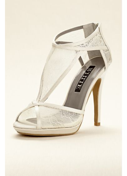 White by Vera Wang Ivory (Vera Wang Lace Bootie with Cutouts)