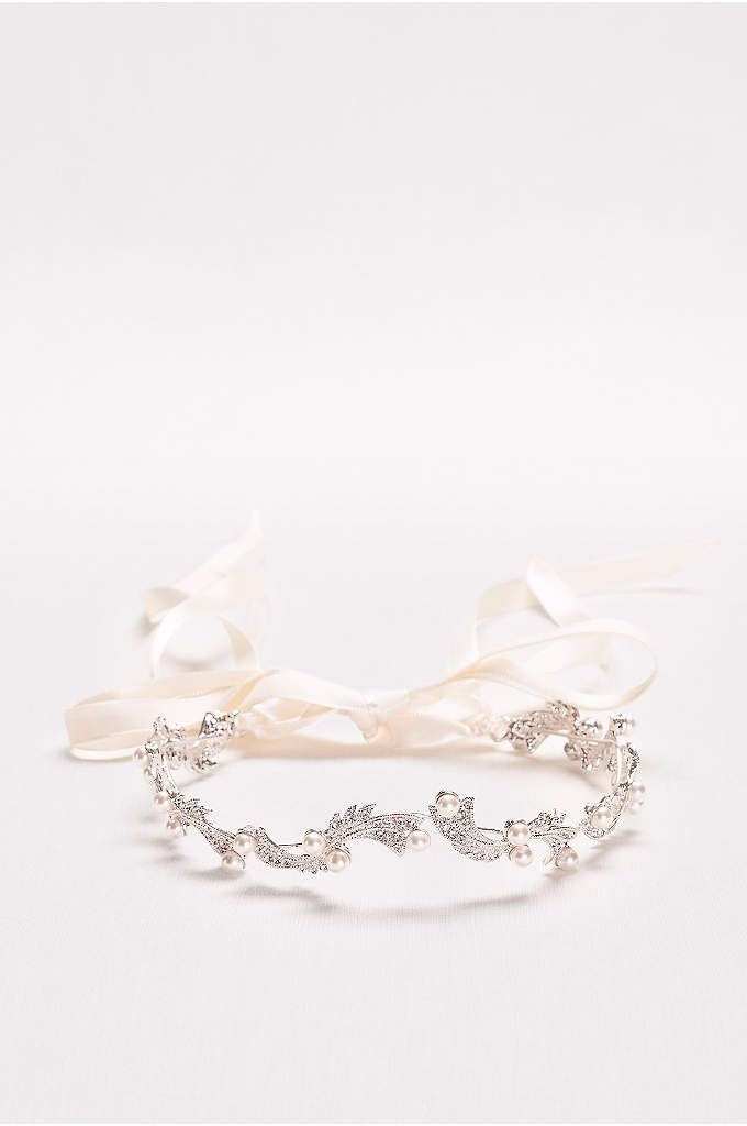 Pearl and Crystal Halo Headband - Swirling silver filigree, dotted with pave crystals and