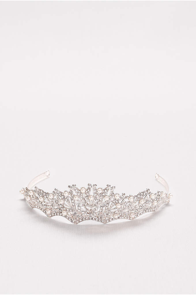 Pearl and Crystal Scallop Tiara - A regal and romantic finish to your wedding
