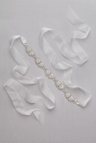 Crystal Sunburst Organza Sash - Hinged crystal sunbursts and shimmery organza ribbon create