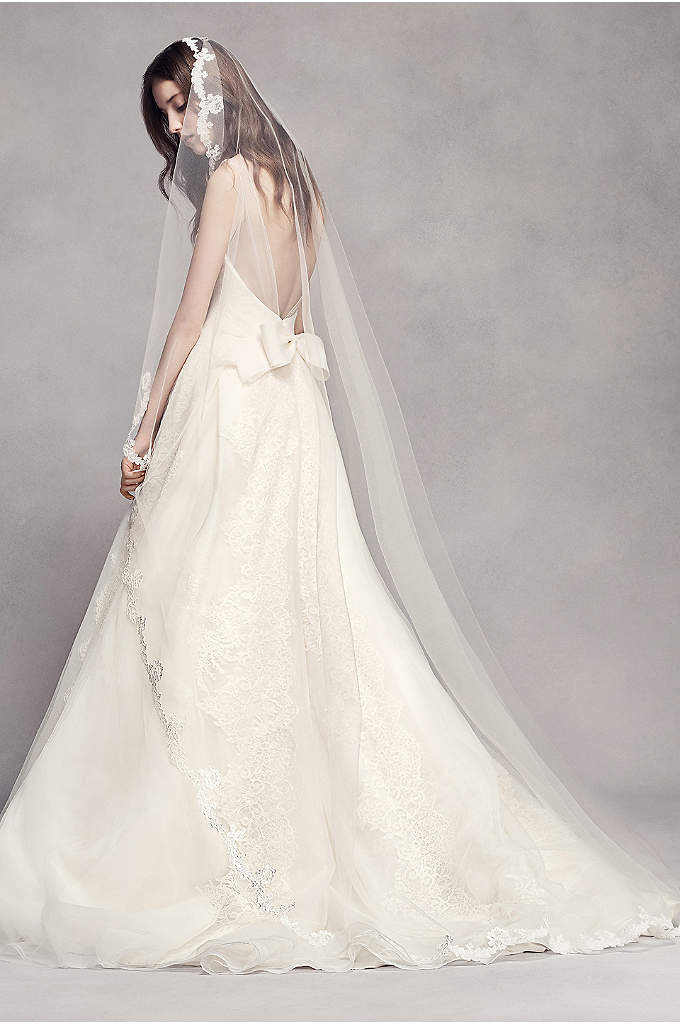 Scalloped Lace Edge Cathedral Veil - Scalloped lace delicately trims the entire edge of