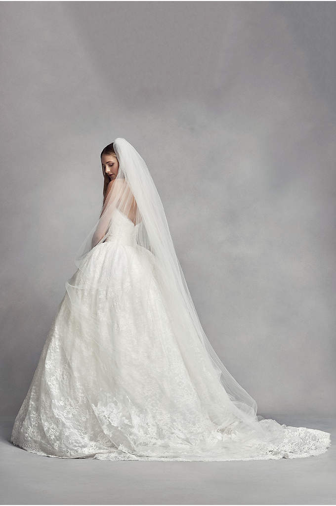 Two-Tier Cathedral Veil with Lace Appliques - Two tiers of tulle embellished with floral appliques
