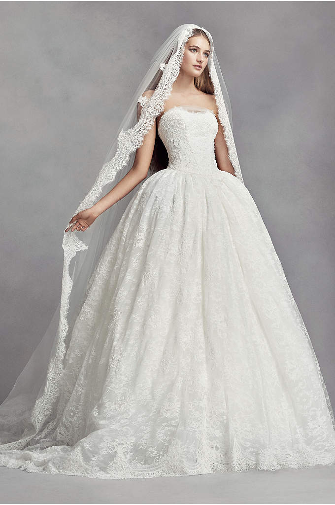 Lace Appliqued Mantilla-Style Cathedral Veil - White by Vera Wang's beautiful Spanish-style mantilla veil