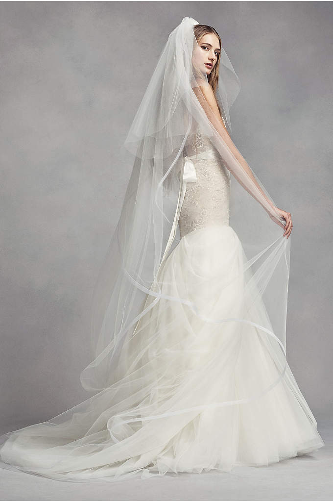 Horsehair-Edge Cathedral Veil with Blusher - A softly layered border gives this two-tier tulle