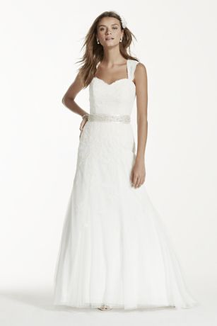 Cap Sleeve Lace Wedding Dress with Keyhole Back - Lace cap-sleeve slim gown with keyhole back and