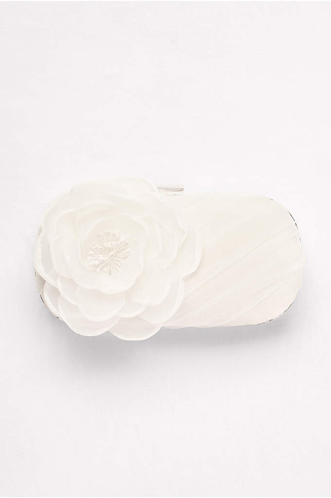 White by Vera Wang Tulle Clutch with Flower - An oversize organza rose and pleated tulle gracefully