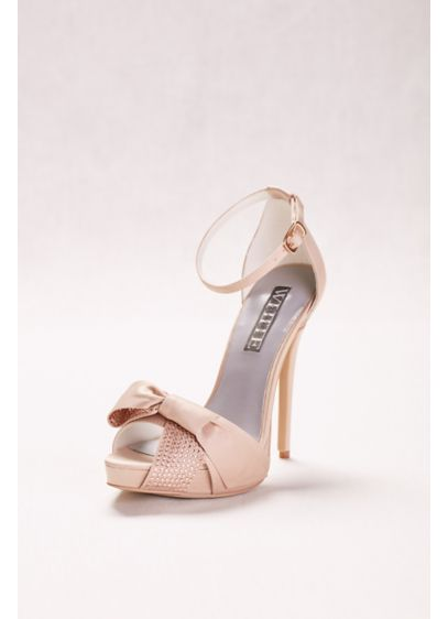 White by Vera Wang Ivory (Crystal Embellished High Heels with Bow)