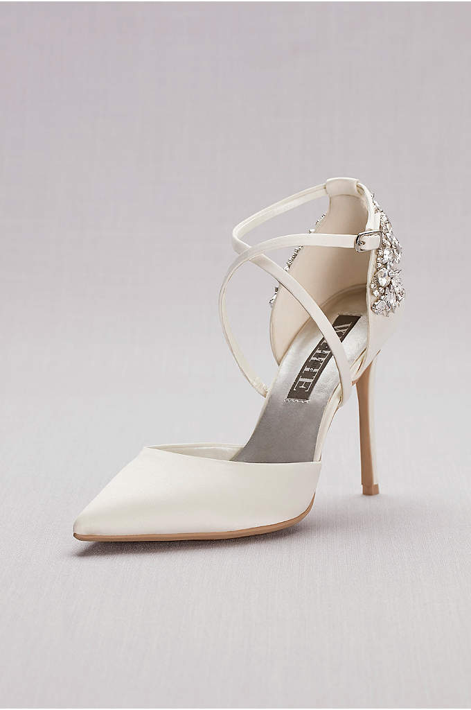 Pointed-Toe Cross-Strap Heels with Crystal Back - An elegant and modern bridal pair, these pointed-toe
