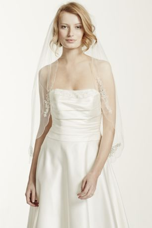 Scalloped Edge Veil with Bead and Crystal Motif - This beaded and embroidered scallop-edged veil is the
