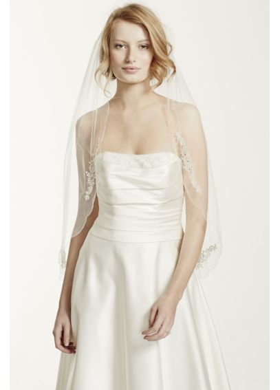 Scalloped Edge Veil with Bead and Crystal Motif VWG3121