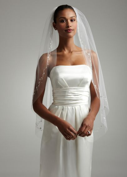 Fingertip Length Veil with Embellished Raw Edge VWG3199