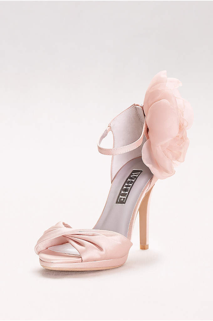 Twisted Satin Peep-Toes with Chiffon Flower - A lush chiffon bloom makes these twist-front satin