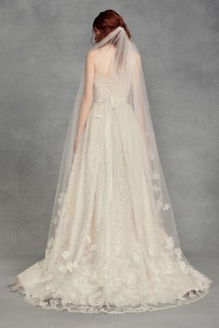 Floral Lace Applique Chapel Veil - White by Vera Wang's beautiful chapel-length tulle veil
