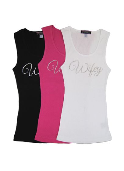 Large Script Rhinestone Wifey Ribbed Tank - Wedding Gifts & Decorations